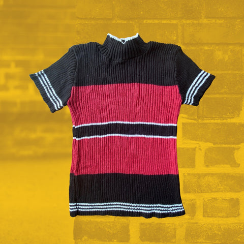90's Striped Mock Neck