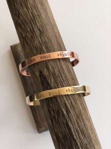 Copper Mantra Cuff in multiple sayings