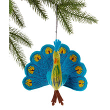 Load image into Gallery viewer, Peacock Ornament in yellow or turquoise