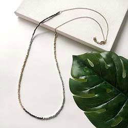 Long Metallic Block Necklace