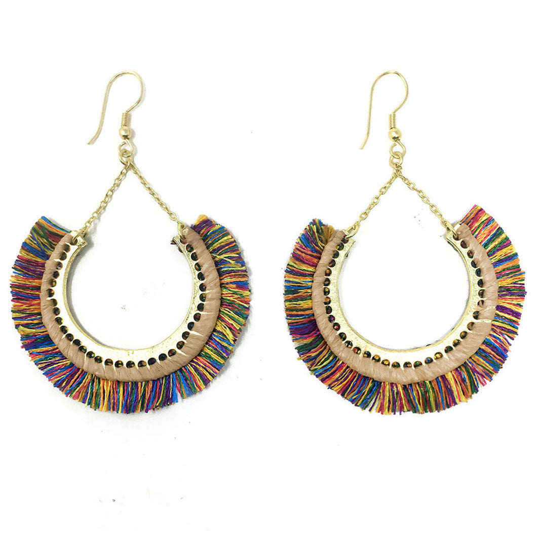 Contoured Colorful Fringe Earrings