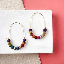 Load image into Gallery viewer, Elongated Kantha Wire Hoops