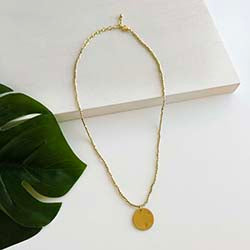 Simple Gold Medallion Necklace