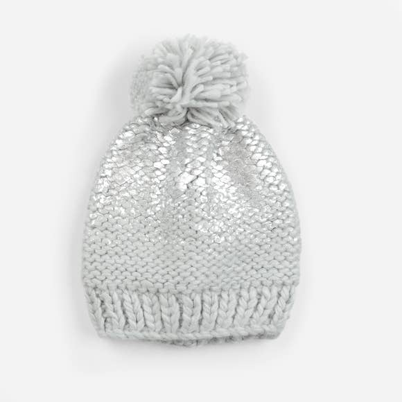 Pearl Metallic Knit Hat