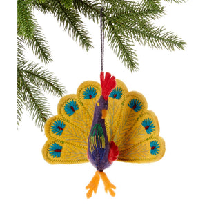 Peacock Ornament in yellow or turquoise