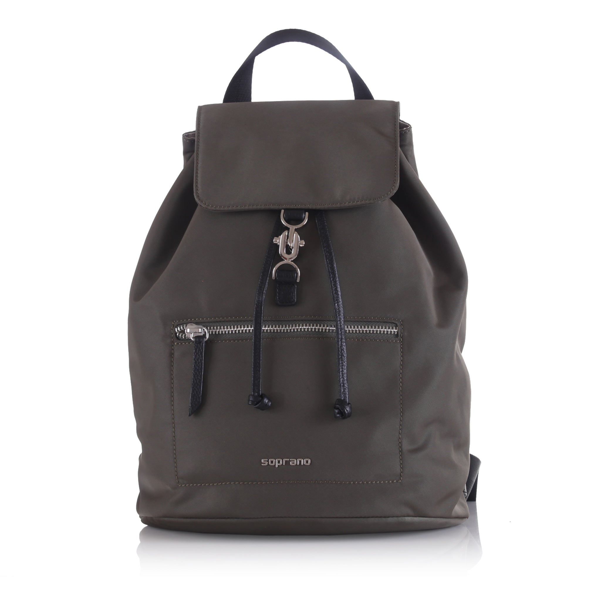 Leather-Embelished Bucket Backpack