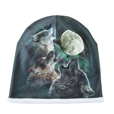 BONNET LOUP D'HIVERS WOLF AND MOON