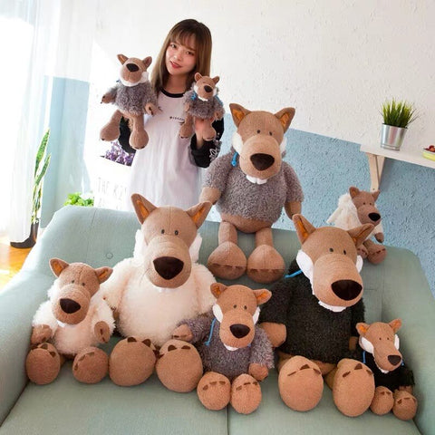 PELUCHE LOUP ASSIS MARRON
