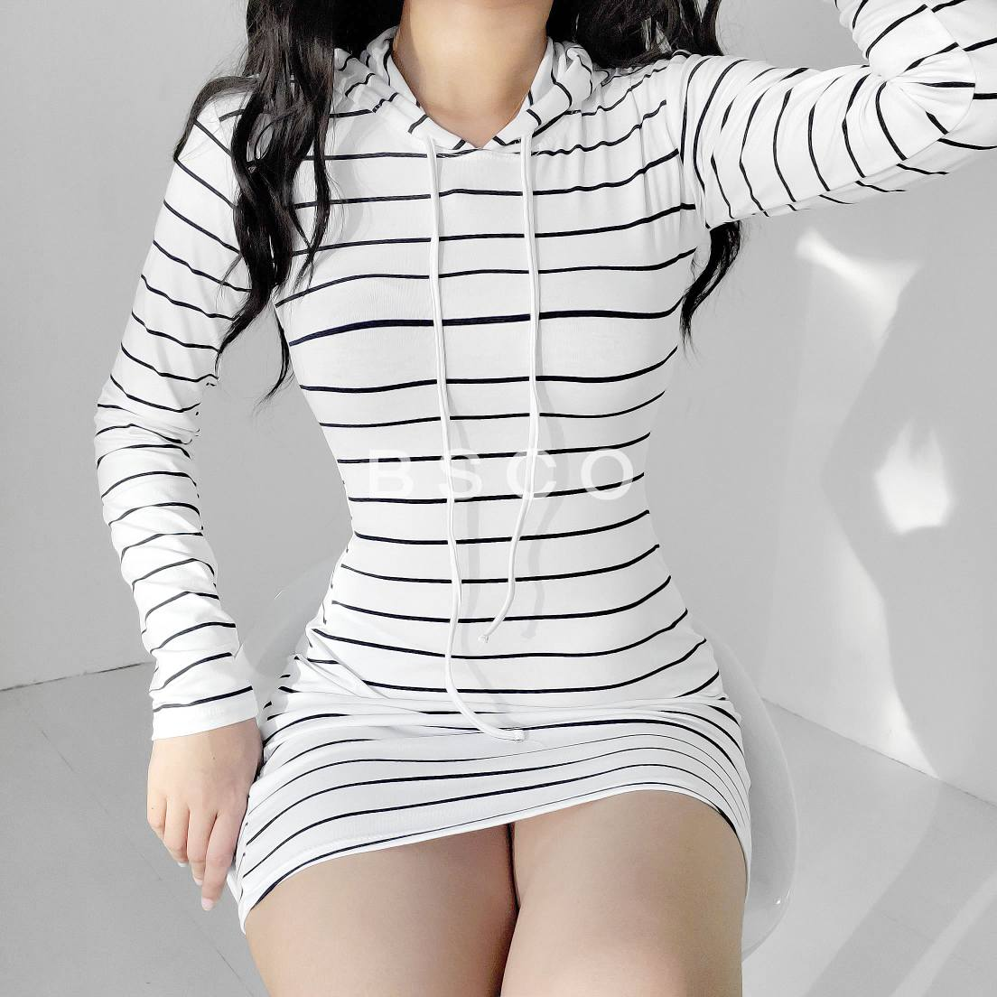 Faye Stripe Hoodie Dress
