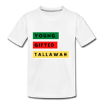 Young.  Gifted. Tallawah.  Kids Back and Front Printed Tee - white