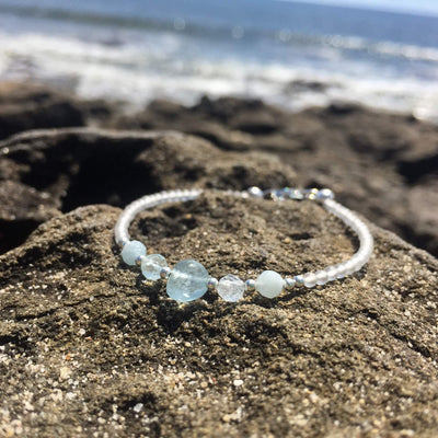 Aquamarine birthstone bracelet for girls