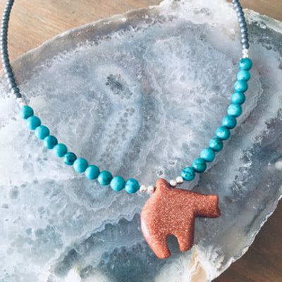 The Bear Goldstone & Blue Magnesite Kid's Necklace
