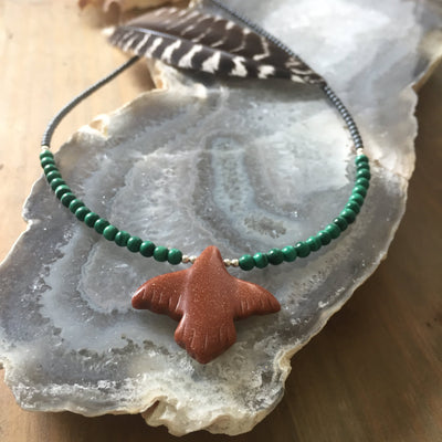 Childrens The Eagle goldstone and malachite necklace