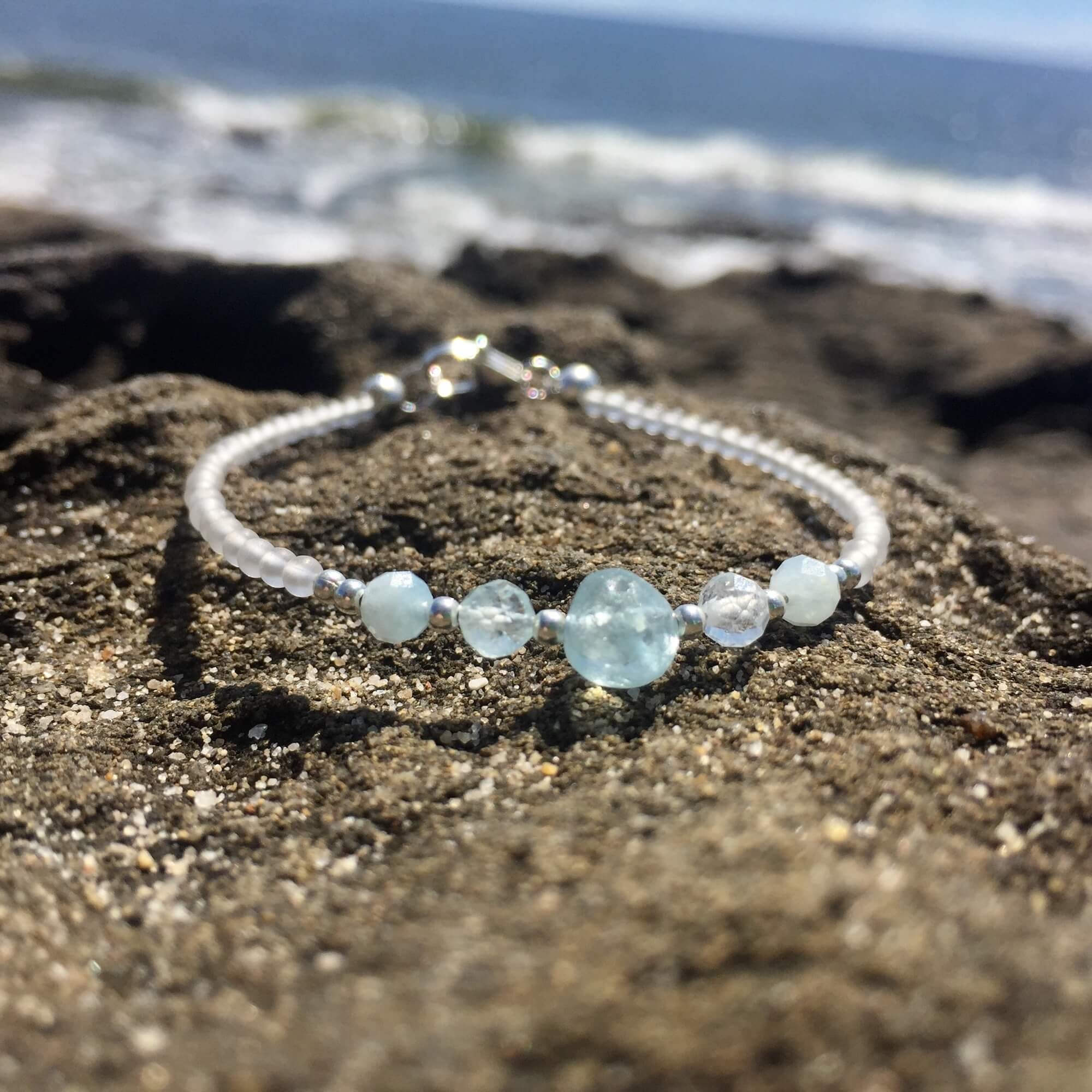 Girls Aquamarine birthstone bracelet