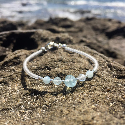 Girls aquamarine bracelet