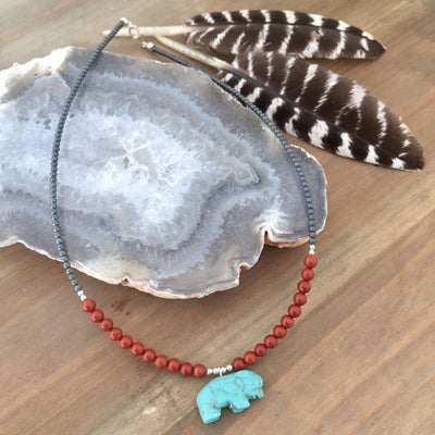 The Bison Howlite and Red Jasper Kids Necklace