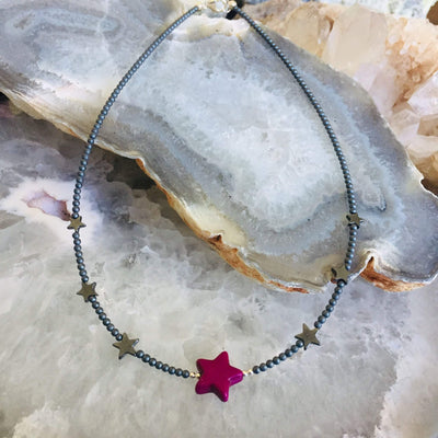 Kid's Sparkle Like A Star Purple Necklace