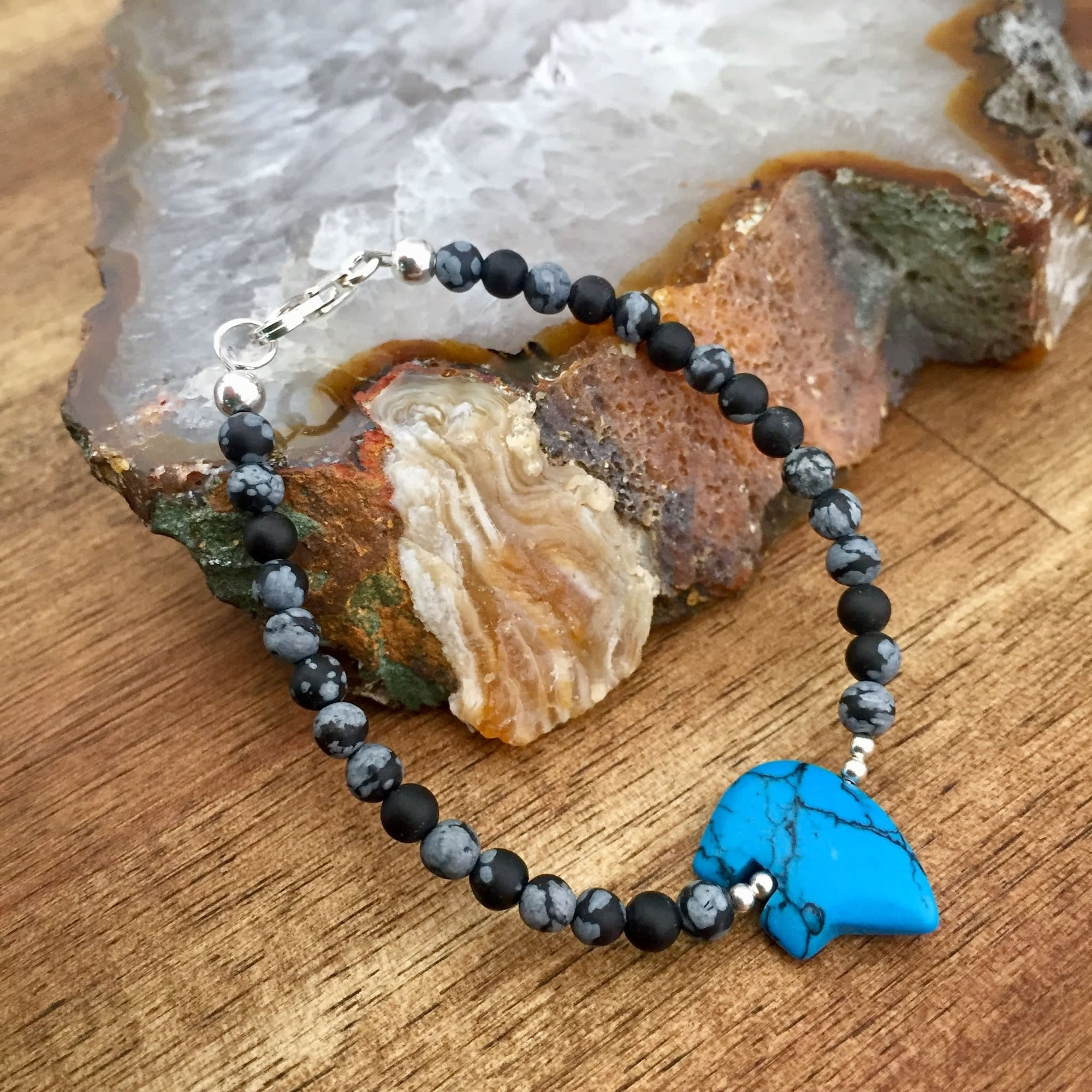 Lil Bear Kid's Howlite and Snowflake Obsidian Bracelet