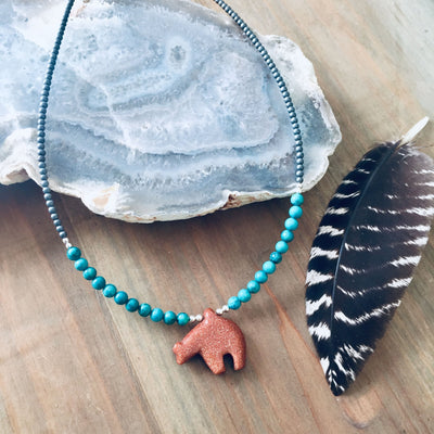 The Bear Goldstone & Blue Magnesite Kids Necklace