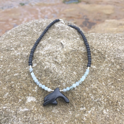 The Dolphin Aquamarine & Lava Rock Kids Diffuser Necklace
