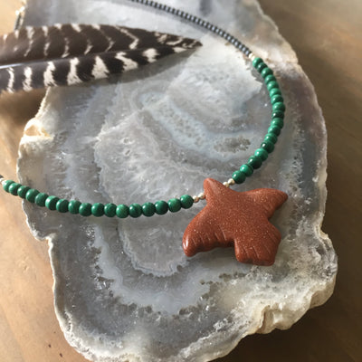 The Eagle Goldstone & Malachite Kid's Necklace
