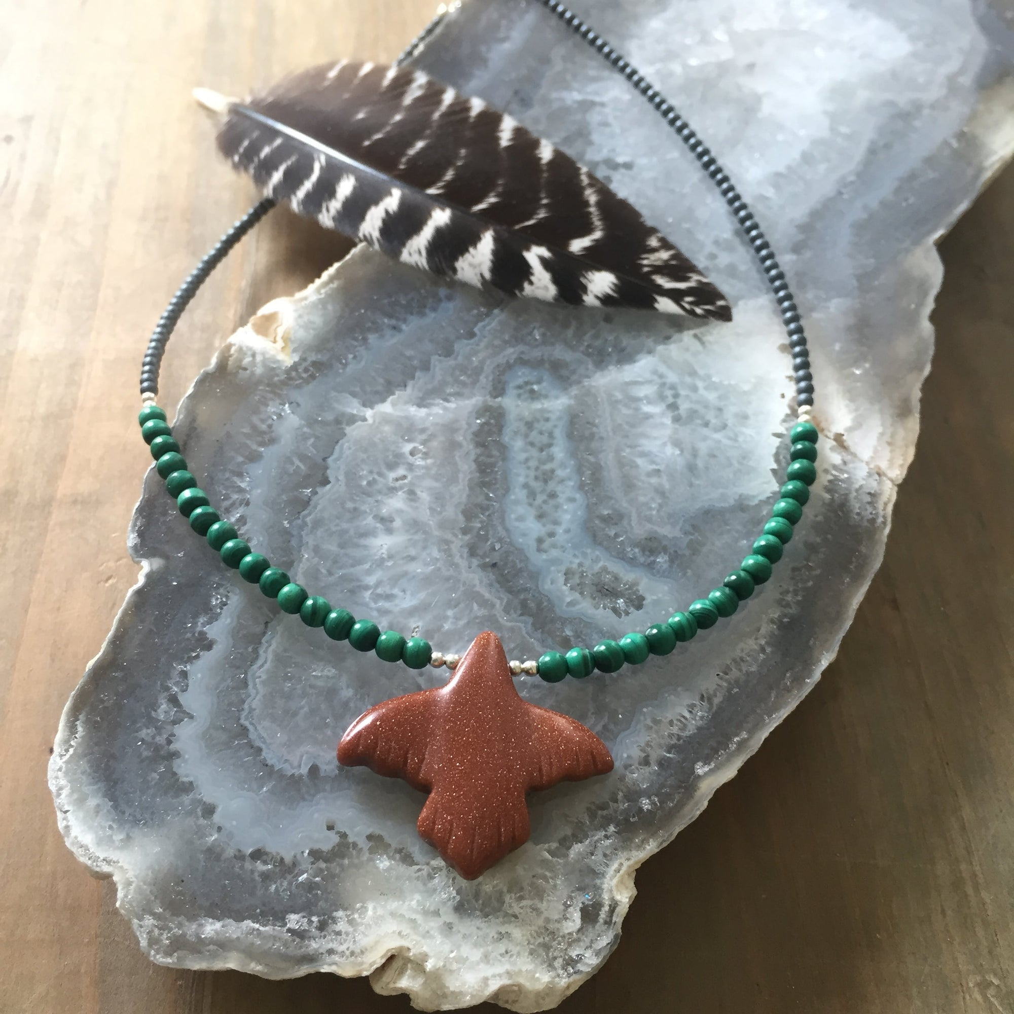 The Eagle goldstone and malachite childrens necklace
