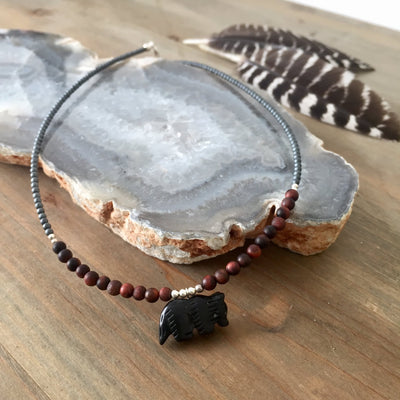 The Wolf Black Onyx and Red Tigers Eye Kids Necklace