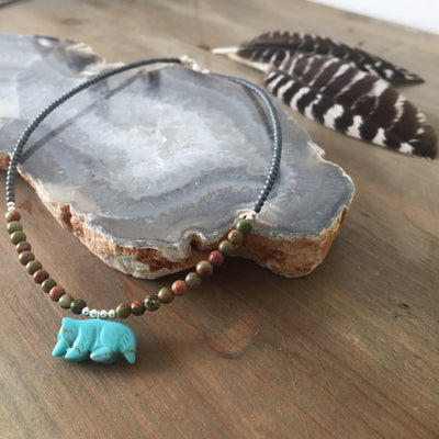 The Wolf Howlite and Unakite Kids Necklace