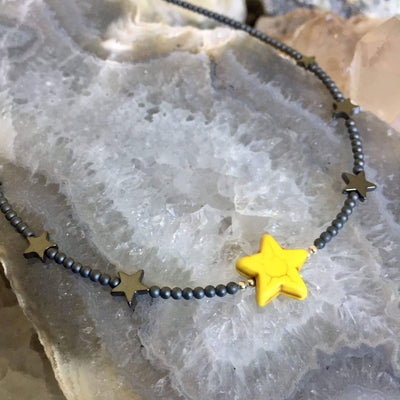 Yellow Sparkle Like A Star Necklace for kids