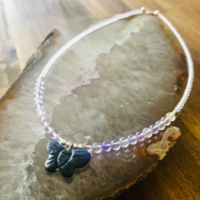 childrens ametrine and sodalite butterfly necklace