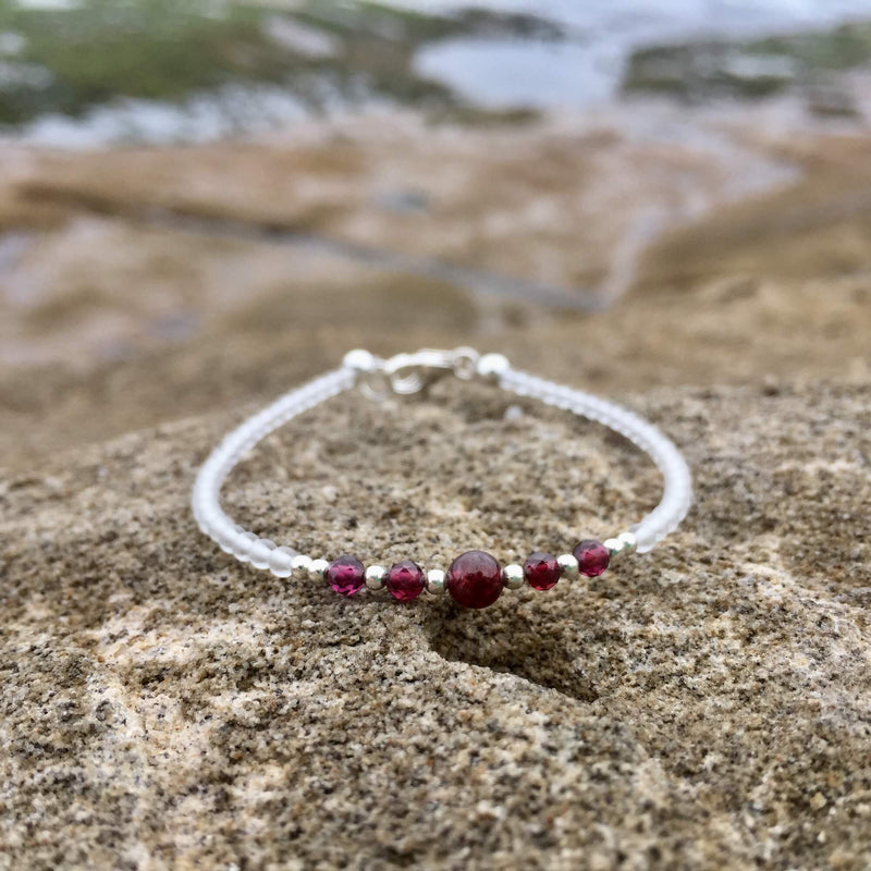 girls garnet birthstone bracelet