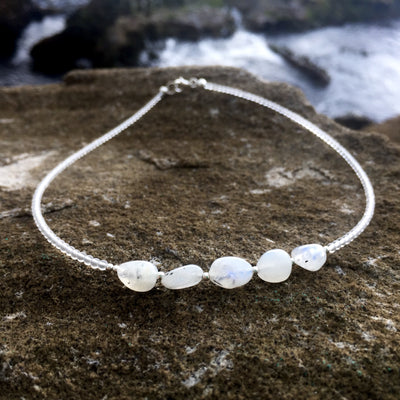 moonchild childrens moonstone and clear quartz necklace