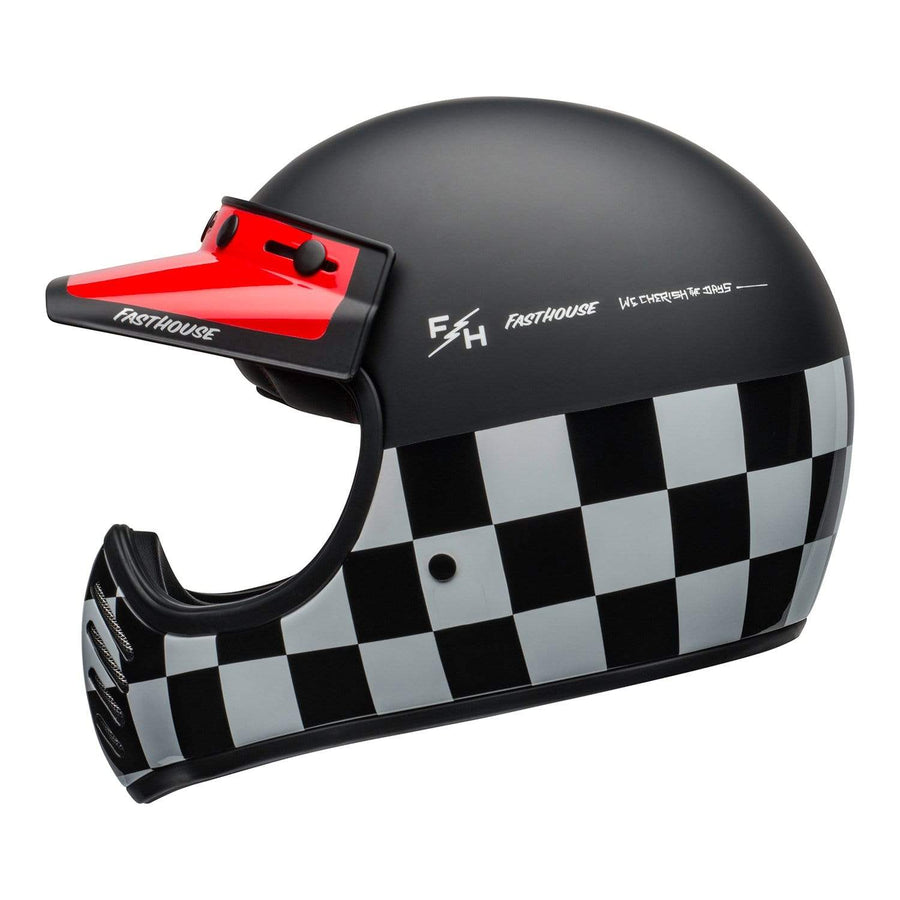 Bell 2020 Cruiser Moto-3 Adult Helmet in Fasthouse Checkers M / G Black / White / Red