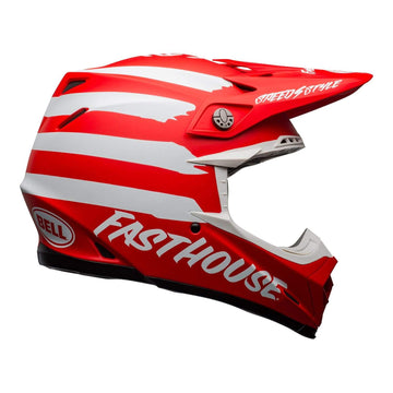 Bell MX 2020.1 Moto-9 Mips Adult Helmet in Fasthouse Signia Matte Red / White