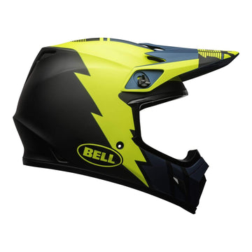 Bell MX 2020.1 MX-9 Mips Adult Helmet in Strike Blue / Yellow