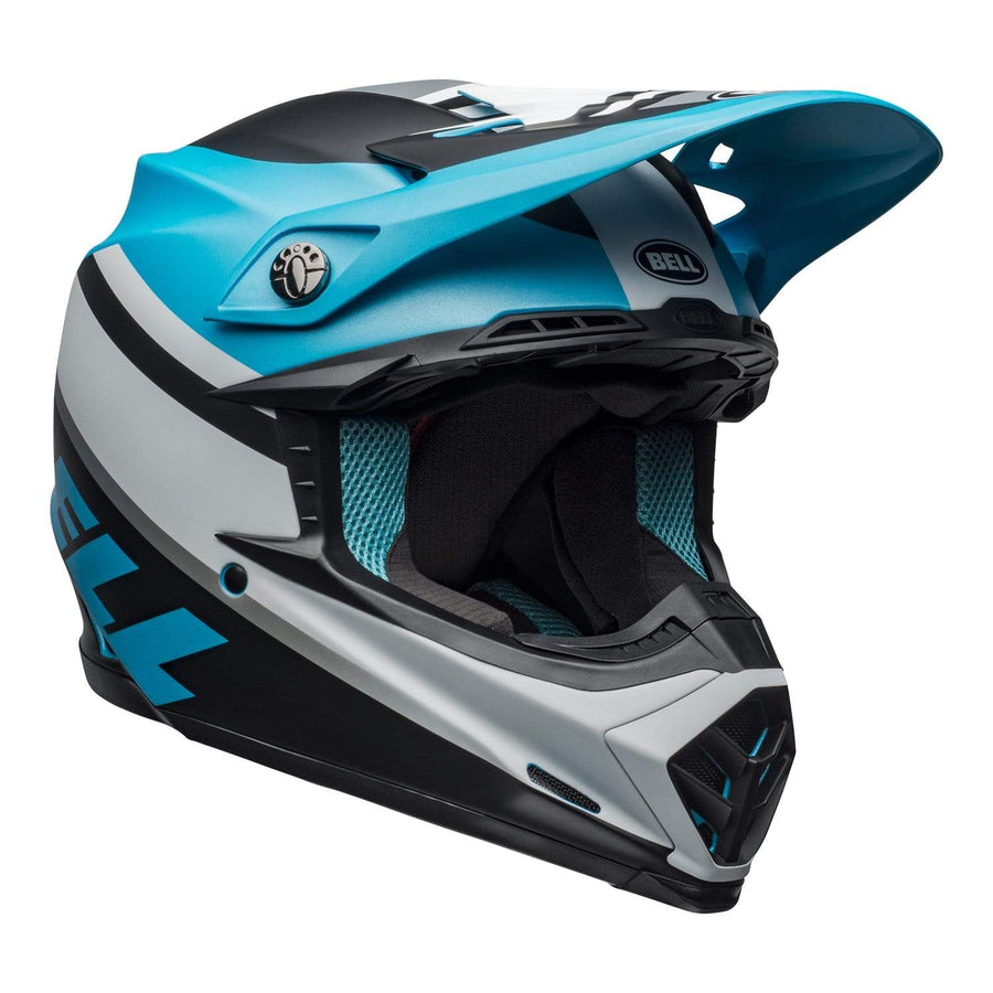 Bell MX 2020 Moto-9 Mips Adult Helmet in Prophecy Matte White / Black / Blue