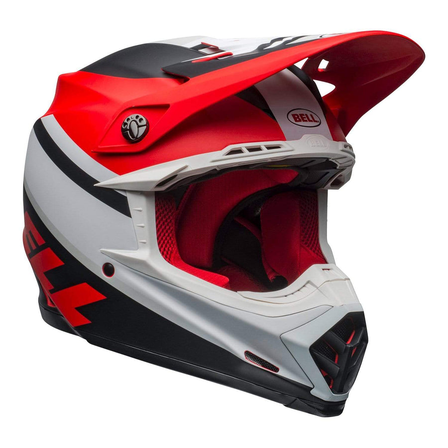 Bell MX 2020 Moto-9 Mips Adult Helmet in Prophecy Matte White / Red / Black