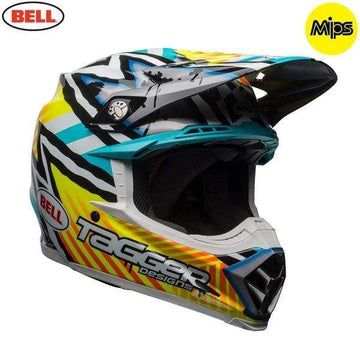 Bell MX 2020 Moto-9 Mips Adult Helmet in Tagger Gloss Yellow / Blue / White Asymetric
