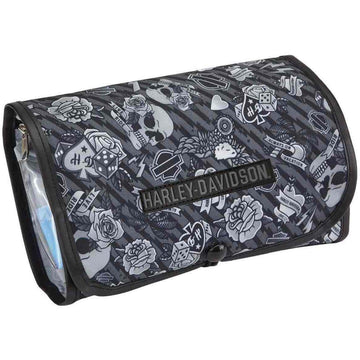 Harley-Davidson® Deluxe Hanging Gray Tattoo Toiletry Kit