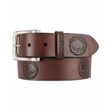 Harley-Davidson Accessories Harley-Davidson® Men's Embossed Willie's World Leather Belt, Brown