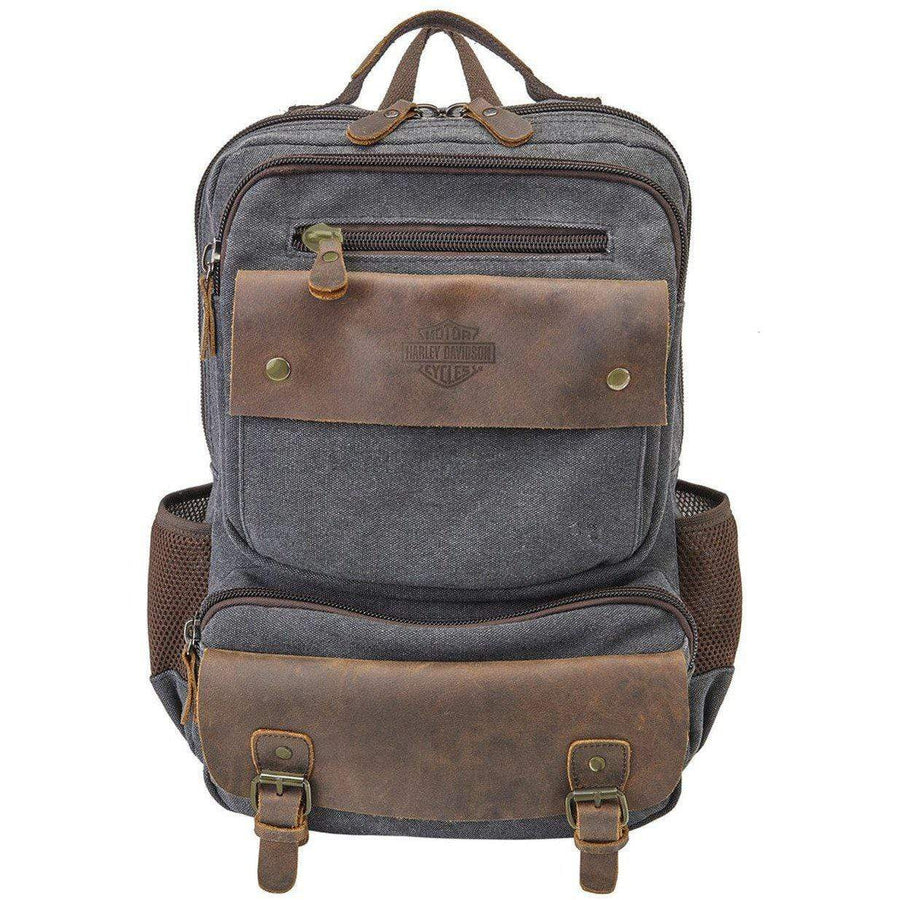 Harley-Davidson® Mustang Vintage Leather & Heather Grey Backpack