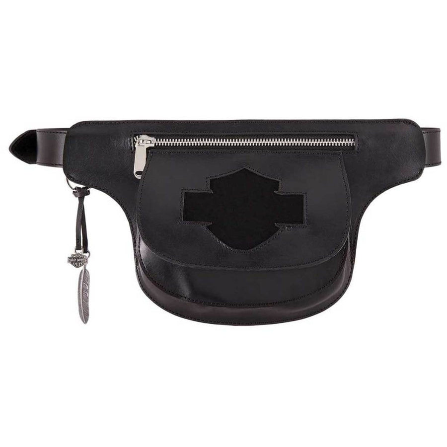Harley-Davidson® Women's Lita Genuine Leather Belt w/ Removable Hip Bag, Black