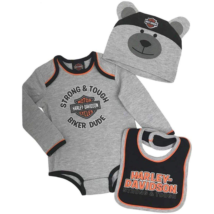 Harley-Davidson® Baby Boys' Bear 3D Infant Baby Grow Set