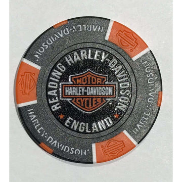 Black and Orange Harley-Davidson® Reading Poker Chip