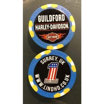 Blue & Yellow Harley-Davidson® Guildford Dealer Poker Chip