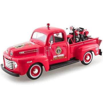 Harley-Davidson® 1936 Knucklehead + 1948 Ford F-1 Pickup Fire Dept. [Maisto 32191], Scala 1:24