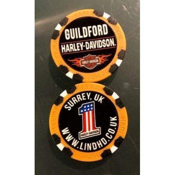 Orange Harley-Davidson® Guildford Dealer Poker Chip