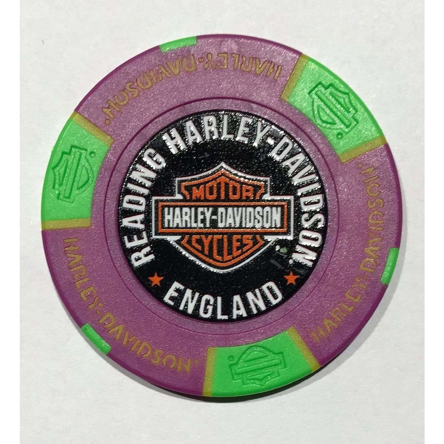 Purple and Green Harley-Davidson® Reading Poker Chip