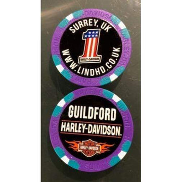 Harley-Davidson Collectables Purple Harley-Davidson® Guildford Dealer Poker Chip