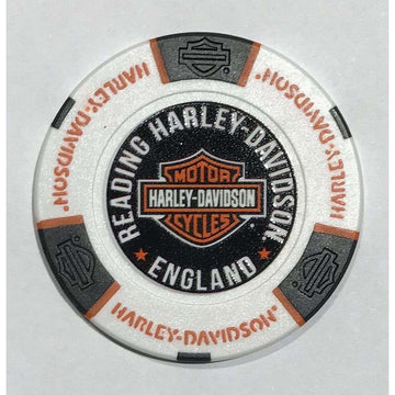 White and Black Harley-Davidson® Reading Poker Chip